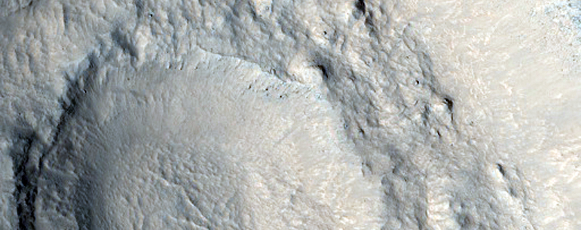 Mid-Latitude Crater with Steep Slopes