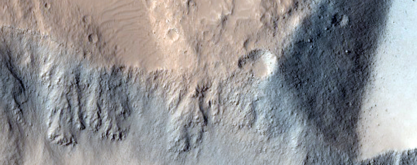 Outcrops in Terrain East of Olympus Mons