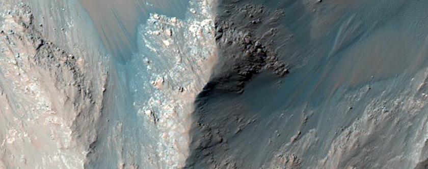 Monitor Low Albedo Slopes along Coprates Chasma Ridge