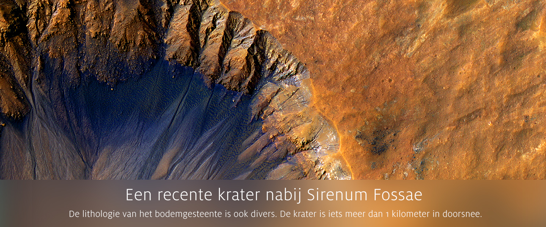 Een recente krater nabij Sirenum Fossae