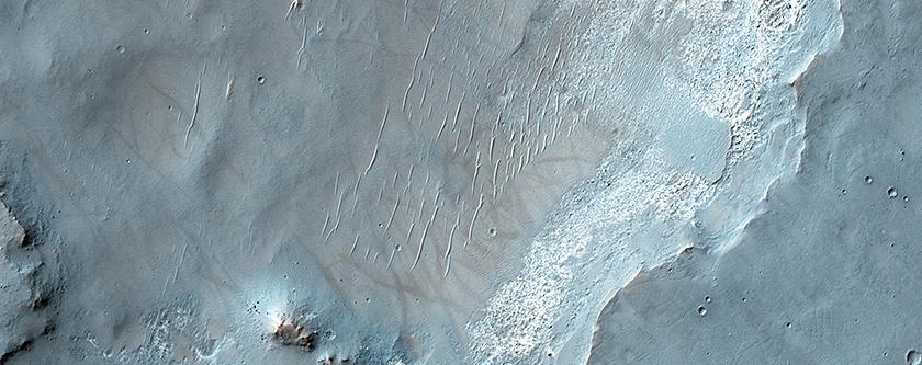 Bedrock Exposures on the Floor of Bakhuysen Crater