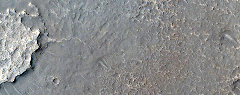Two Units with Lobate Margins on Floor of Crater North of Dittaino Valles