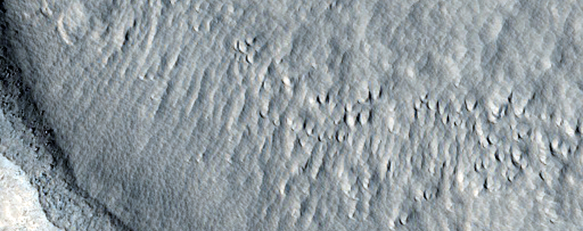 Crater with Impact Ejecta in Phlegra Dorsa Region