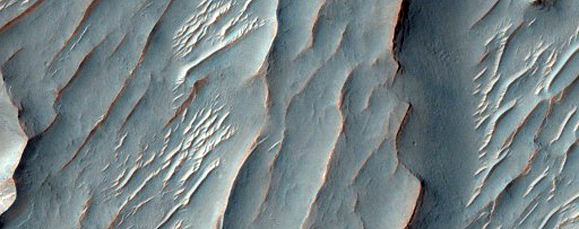 Convergent Sinuous Ridges in Crater Within Newcomb Crater