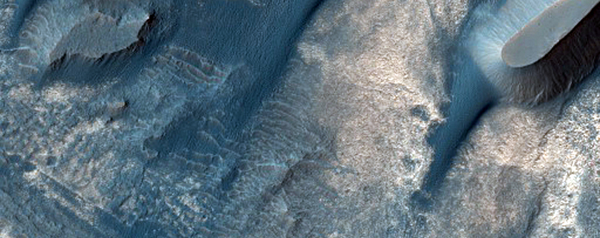 Cratered Layered Terrain and Wall Slopes in Melas Chasma