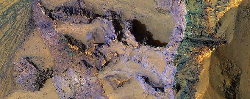 Colorful Bedrock Exposed in a Landslide Scarp