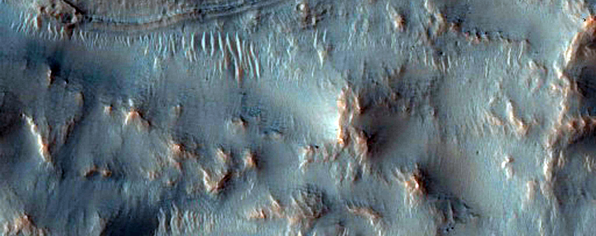 Gullies in Small Crater in Mariner Crater