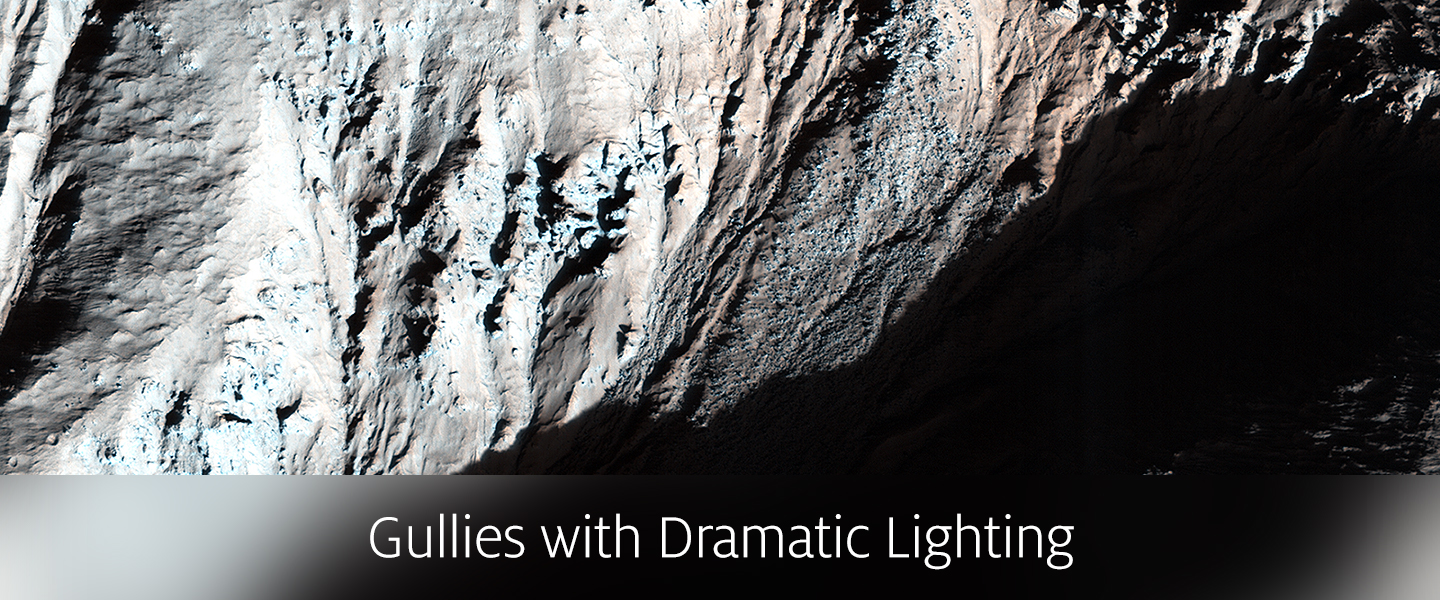 Gullies with Dramatic Lighting