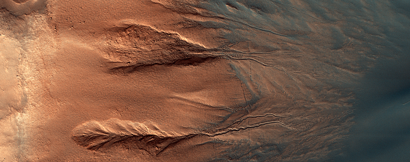 The Contrasting Colors of Crater Dunes and Gullies