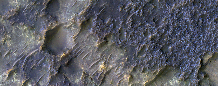 Contact between Two Distinct Types of Bedrock Northwest of Hellas Planitia