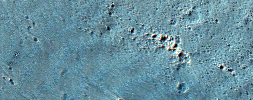 Isolated Secondary Crater Cluster from Resen Crater in Hesperia Planum
