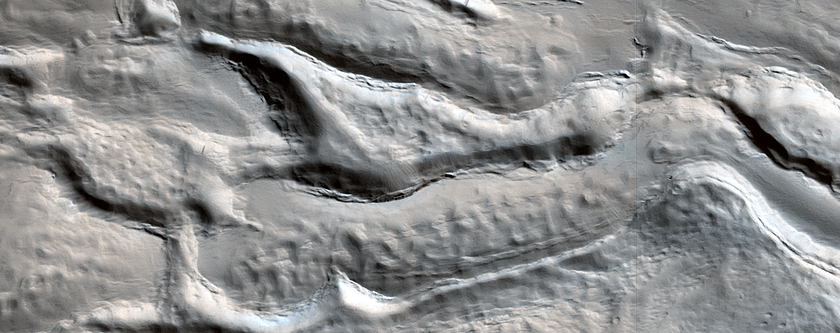 Icy Flow in a Crater