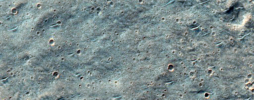 Isolated Secondary Cluster from Well-Preserved Crater in Hesperia Planum