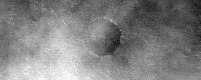Very Recent Small Impact Crater in Xanthe Terra
