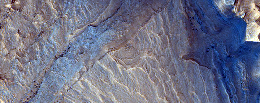 Tilted Block in Subsided Region South of Orson Welles Crater