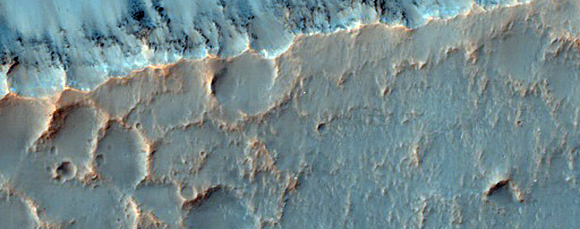 Gullies in Crater along Trough Near Mariner Crater