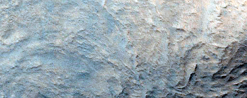 Crater Near Valley in Hellas Planitia