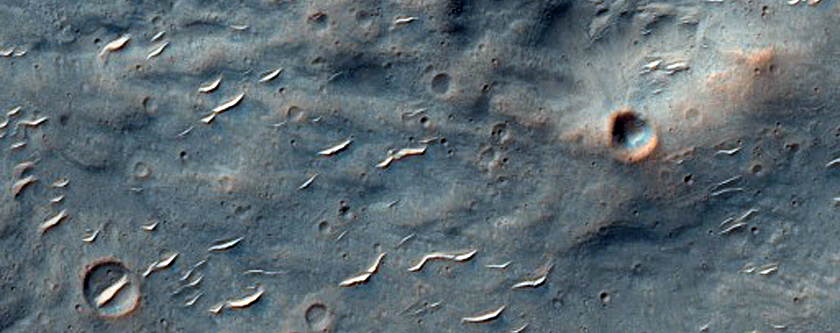 Western Continuous Ejecta Boundary of Bam Crater in Hesperia Planum