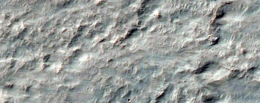 Western Continuous Ejecta Boundary of Resen Crater in Hesperia Planum