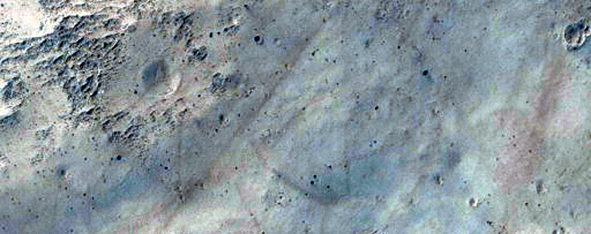 Faulted Stratified Rock in Crater East of Schiaparelli Crater