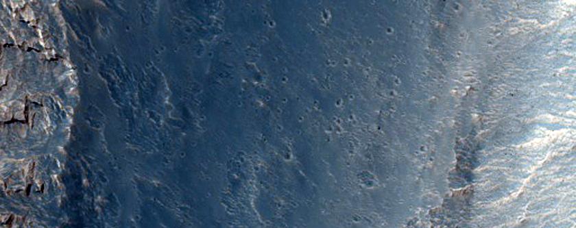 High Albedo Exposed Bedrock at Eastern Slope Bottom in Hebes Chasma