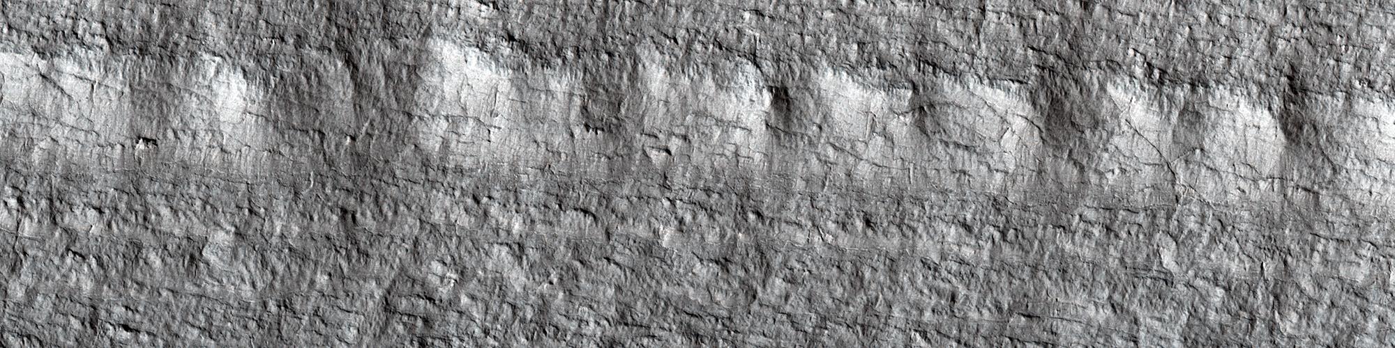 Gelaagd ijs nabij de zuidpool van Mars