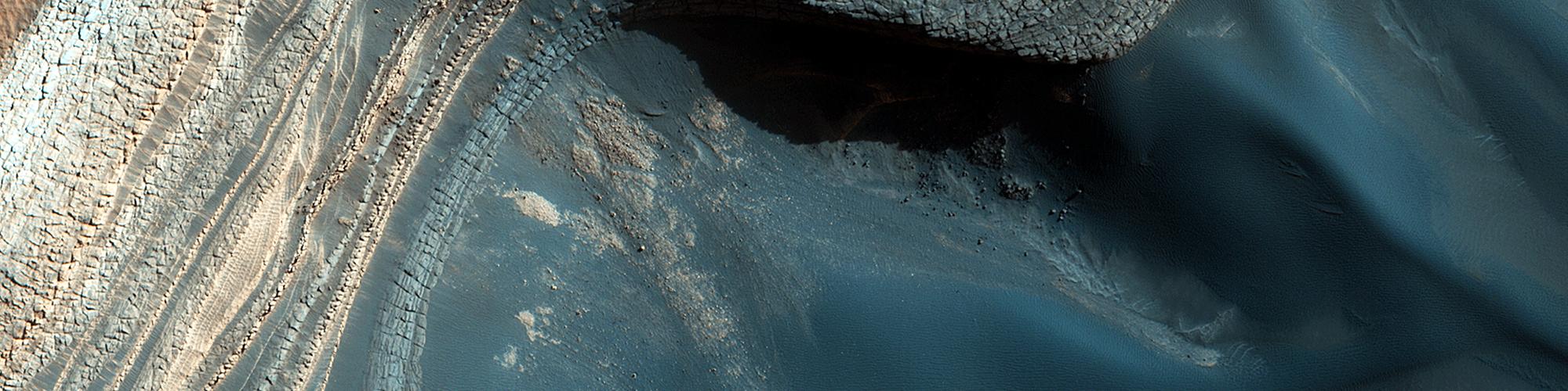 Blocksturz auf den nordpolaren geschichteten Ablagerungen