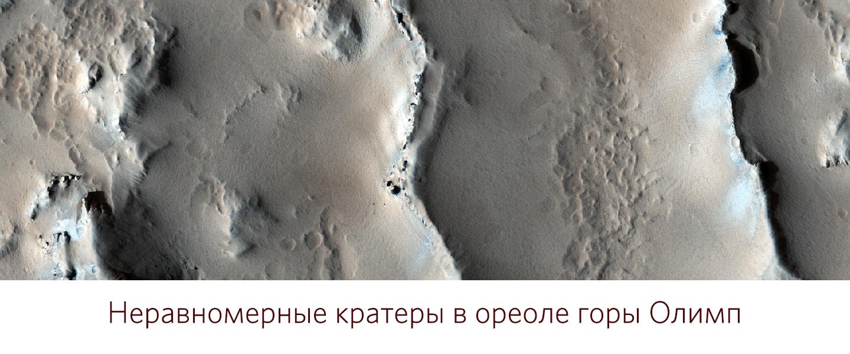 Неравномерные кратеры в ореоле горы Олимп