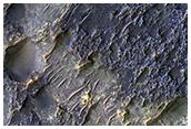 Contact between Two Distinct Types of Bedrock Northwest of Hellas Planitia