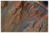 Vistosos barrancos ecuatoriales en el cráter Krupac