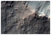 Hell getöntes Material im Zentrum eines Kraters im Gorgonum Chaos-Becken