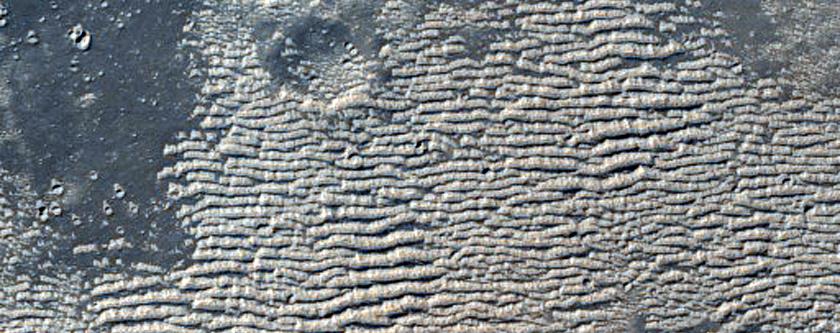 דיונות בהירות למזרח מקניון אקוס קזמה (Echus Chasma)
