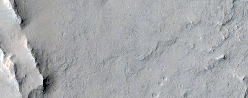 Straight Ridge-Forming Material and Gill Crater in West Arabia Terra