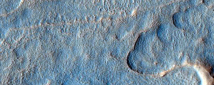 Raised Amorphous Furrowed Features on Crater Floor in Utopia Planitia