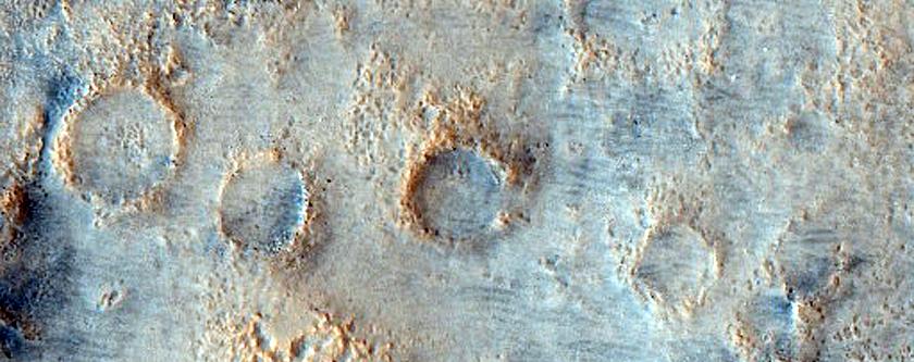 Crater in the Northeast Acidalia Planitia West of Davies Crater