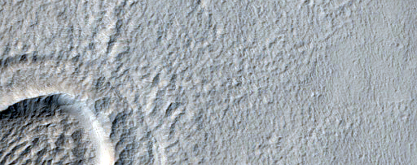 Crater in Pavonis Mons Aureole