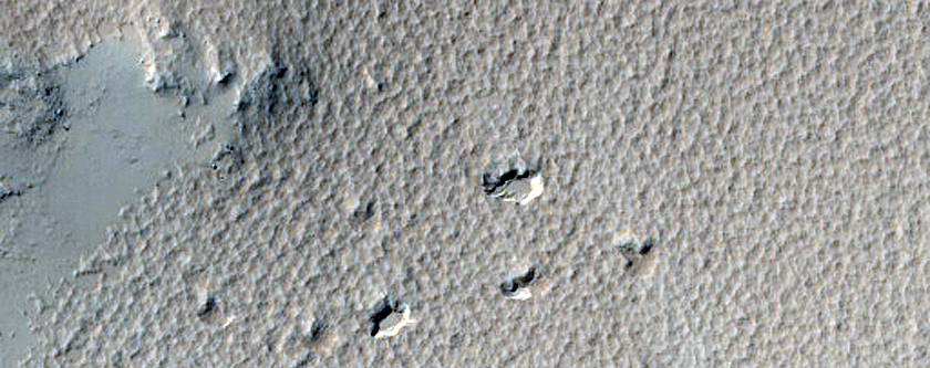 Features on Floor of a Crater Near Amazonis Mensa