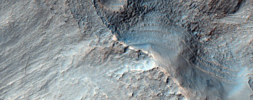 Layers Near Top of Crater in Terra Cimmeria