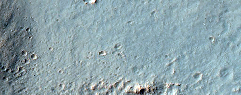 Eastern Continuous Ejecta Boundary of Resen Crater in Hesperia Planum
