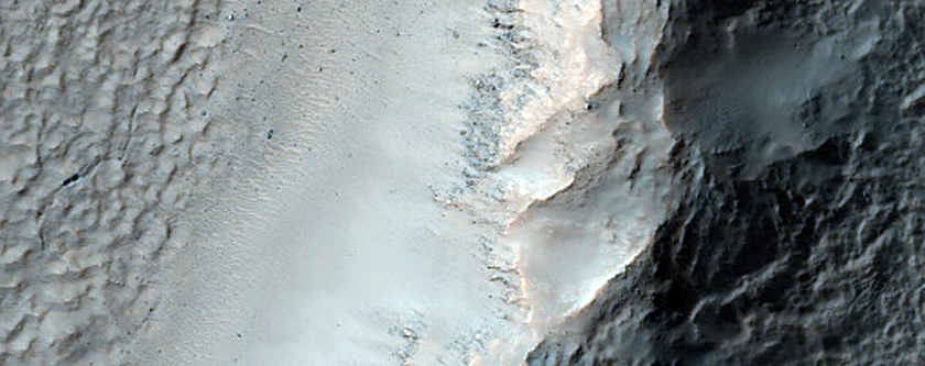 Boundary between Rough and Smooth Hale Crater Ejecta