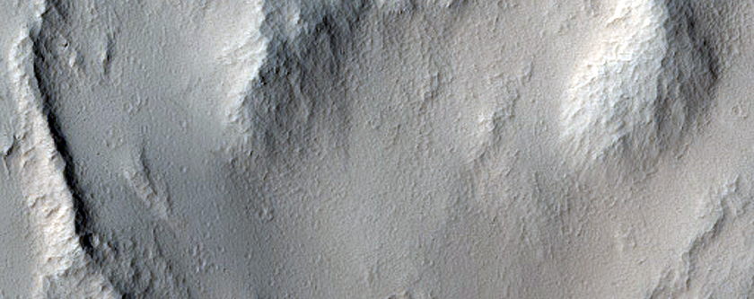 Lava Flow Entering Impact Crater North of Echus Chasma