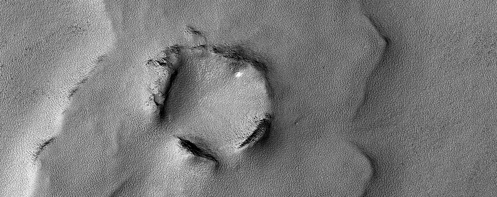 Crater with Asymmetric Ejecta Blanket Southeast of Hellas Planitia
