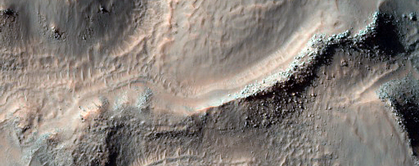 Crater Fill and Landforms in Unnamed Crater in Terra Sirenum