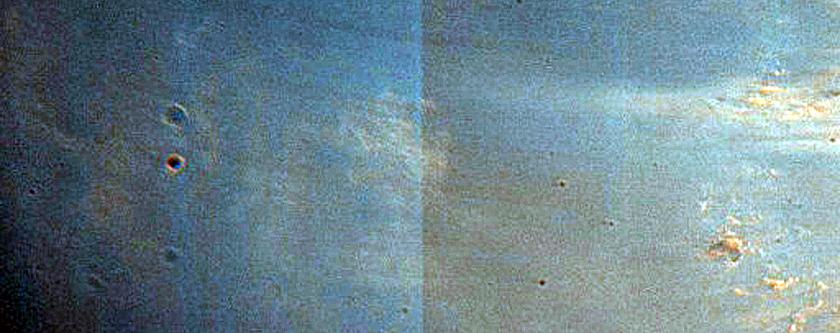 Rim of 27-Kilometer Diameter Crater in Tyrrhena Terra