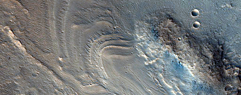Layering on Floor of Orson Welles Crater