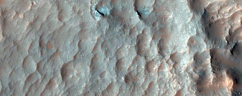 Central Pit of 21-Kilometer Diameter Crater in Terra Sabaea
