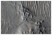 Landforms in Antoniadi Crater