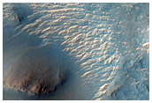 Layered Deposits Inside in Crater in Western Arabia Terra