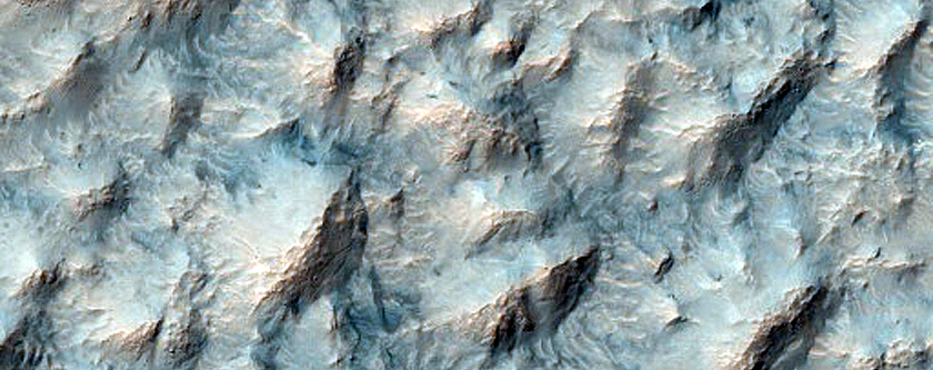 Hummocky Texture on Ridge Associated with Hale Crater Ejecta