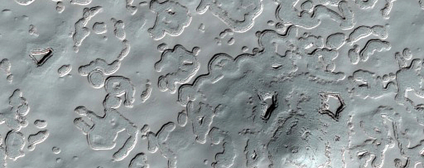 South Polar Residual Cap Swiss Cheese Terrain with Pit